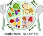 illustration featuring a plate... | Shutterstock .eps vector #564424441