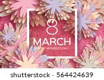 Stock vector pastel march floral greeting card happy women s day paper cut flower holiday background with 564424639