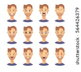 set of male emoji characters.... | Shutterstock .eps vector #564426379