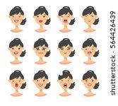 set of asian emoji character.... | Shutterstock .eps vector #564426439