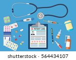 top view of doctor workplace.... | Shutterstock .eps vector #564434107