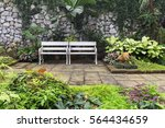 Two White Classic Benches On...