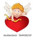 cute playful cupid with bow... | Shutterstock .eps vector #564436219