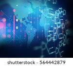 futuristic earth map technology ... | Shutterstock . vector #564442879