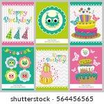 set of six happy birthday card... | Shutterstock .eps vector #564456565