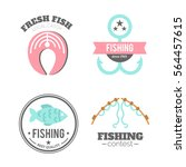 vector fishing badges. logo... | Shutterstock .eps vector #564457615
