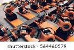 robotic factory assembling 3d... | Shutterstock . vector #564460579