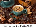 cup of coffee with cookies and... | Shutterstock . vector #564463891