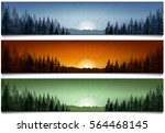 Stock vector set of forest landscape scenes banners vector illustration 564468145