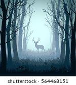 deer in autumn misty forest... | Shutterstock .eps vector #564468151