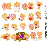 cupid with different emotions ... | Shutterstock .eps vector #564473671