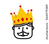 king with crown icon over white ... | Shutterstock .eps vector #564479389