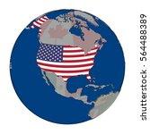 Usa With Embedded National Fla...