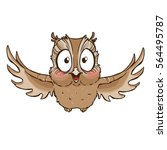 surprised cute owl with...   Shutterstock .eps vector #564495787
