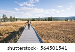 man with backpack walking over... | Shutterstock . vector #564501541