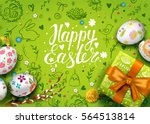 Stock vector template vector card with realistic eggs gift box and flowers handwriting inscription happy 564513814