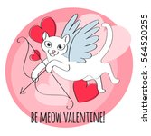 be my valentine   cupid cat... | Shutterstock .eps vector #564520255