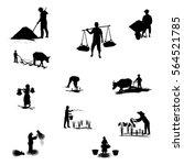 silhouettes farmer shape vector ...
