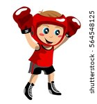 kid with boxing glove in... | Shutterstock . vector #564548125
