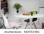 neutral interior with table on... | Shutterstock . vector #564551581