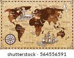 hand drawn sketch retro world... | Shutterstock .eps vector #564556591