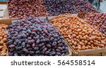 a fresh date palm and dry date... | Shutterstock . vector #564558514