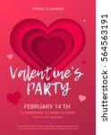valentine's day party flyer.... | Shutterstock .eps vector #564563191