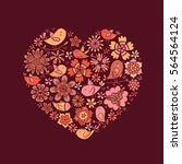 brown heart of flowers and of... | Shutterstock .eps vector #564564124