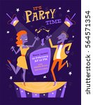 bright party poster in mid... | Shutterstock .eps vector #564571354