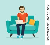 young man sitting on the sofa... | Shutterstock .eps vector #564572599