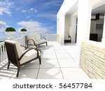 armchairs and a table on an... | Shutterstock . vector #56457784