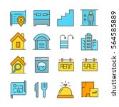 real estate icons color style | Shutterstock .eps vector #564585889