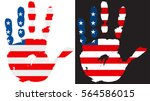 usa flag in hand print. | Shutterstock .eps vector #564586015