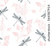 Stock vector seamless pattern flowers and dragonfly hand drawn vector illustration 564587914