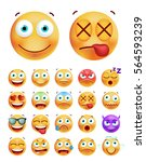 set of cute emoticons on white... | Shutterstock .eps vector #564593239