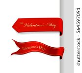 set of valentine's day ribbons. | Shutterstock .eps vector #564597091