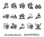 insurance black and white icons.... | Shutterstock .eps vector #564599851