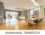 big windows in spacious open...   Shutterstock . vector #564601114