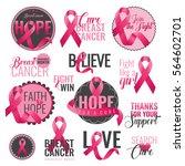 set of breast cancer awareness... | Shutterstock .eps vector #564602701