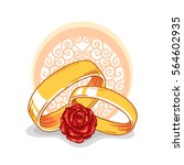 vector wedding rings with rose. ... | Shutterstock .eps vector #564602935