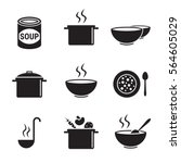 soup icons set. black on a... | Shutterstock .eps vector #564605029