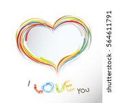 i love you colorful text with... | Shutterstock .eps vector #564611791