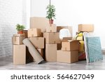 packed household stuff for... | Shutterstock . vector #564627049