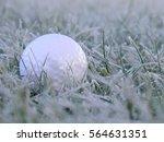 Golf Ball On White Frosen Grass