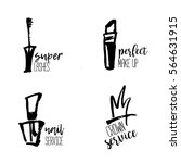 cosmetic logo in hand drawn... | Shutterstock .eps vector #564631915
