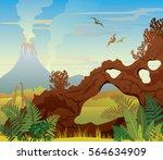 prehistoric landscape   volcano ... | Shutterstock .eps vector #564634909