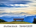 bench on the blomberg mountain in bavaria - stock photo