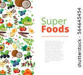 superfood background with... | Shutterstock .eps vector #564645454