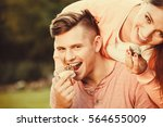 love and happiness. young... | Shutterstock . vector #564655009