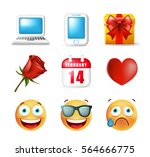 cute icons on white background. ... | Shutterstock .eps vector #564666775